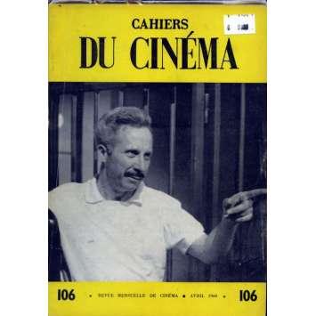 CAHIERS DU CINEMA N°106 Magazine - 1960 - Revue Mensuelle de cinéma