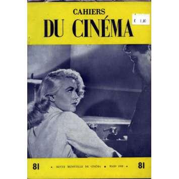 CAHIERS DU CINEMA N°81 Magazine - 1958 - Revue Mensuelle de cinéma