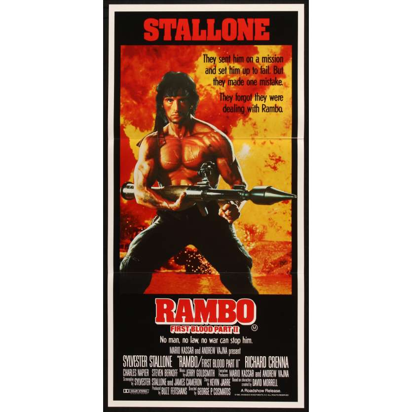 FIRST BLOOD II Australian Movie Poster 13x28 - 1985 - George Pan Cosmatos, Sylvester Stallone