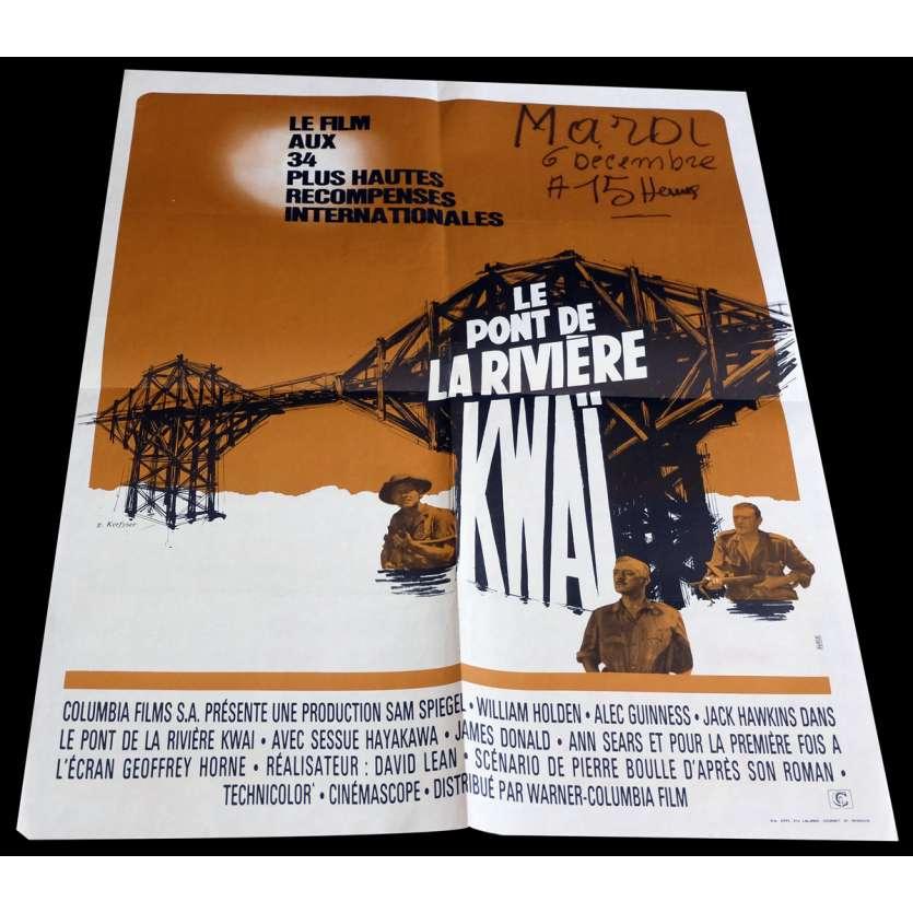 LE PONT DE LA RIVIERE KWAI Affiche de Film 60x80 - R1970 - Alec Guiness, David Lean
