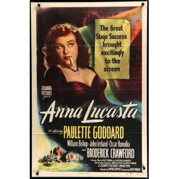 ANNA LUCASTA Affiche de Film 69x102 - 1949 - Paulette Godard, Irving Rapper