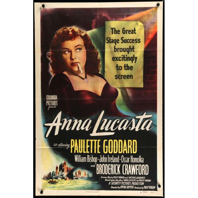 ANNA LUCASTA US Movie Poster 29x40 - 1949 - Irving Rapper, Paulette Godard