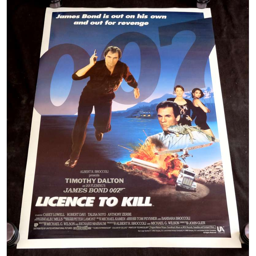 PERMIS DE TUER Affiche de film James Bond 69x104 - 1989 - Timothy Dalton, John Glen