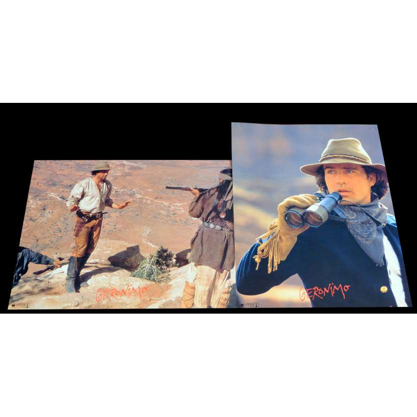 GERONIMO French Lobby Cards x2 9x12 - 1994 - Walter Hill, Matt Damon