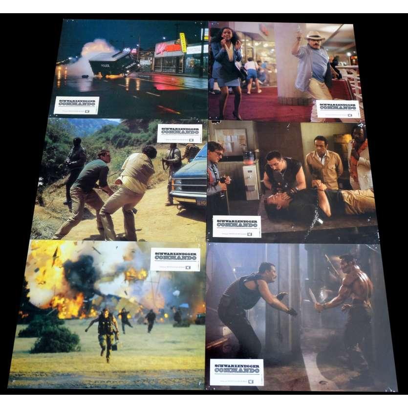 COMMANDO French Lobby Cards x6 9x12 - 1985 - Mark Lester, Arnold Schwarzenegger