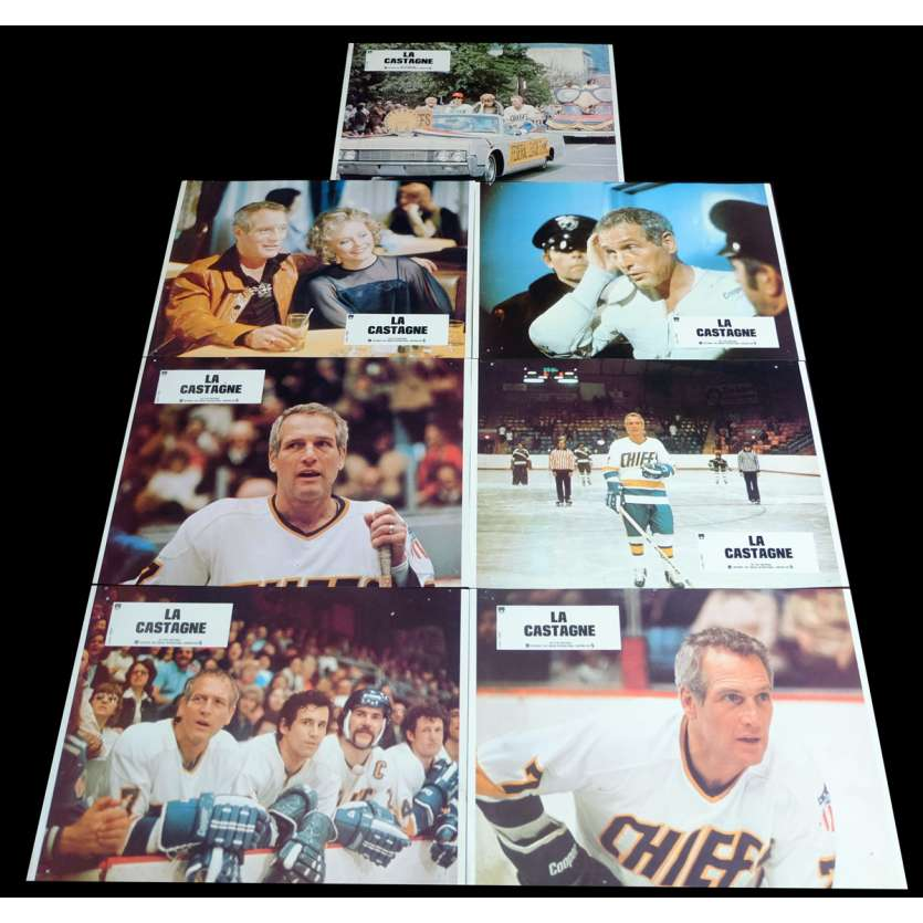 SLAP SHOT French Lobby Cards x7 9x12 - 1977 - George Roy Hill, Paul Newman