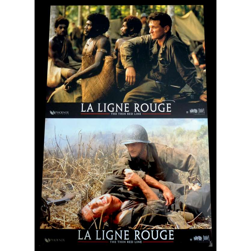 THE THIN RED LINE French Lobby Cards x2 9x12 - 1998 - Terrence Malick, Sean Penn