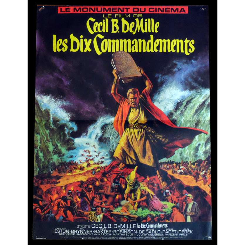 DIX COMMANDEMENTS Affiche de film 40x60 R1982 Charlton Heston