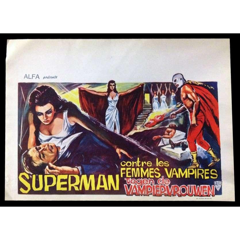 SANTO VS THE VAMPIRE WOMEN Belgian Movie Poster 14x22 - 1966 - Alfonso Corona Blake, Santo