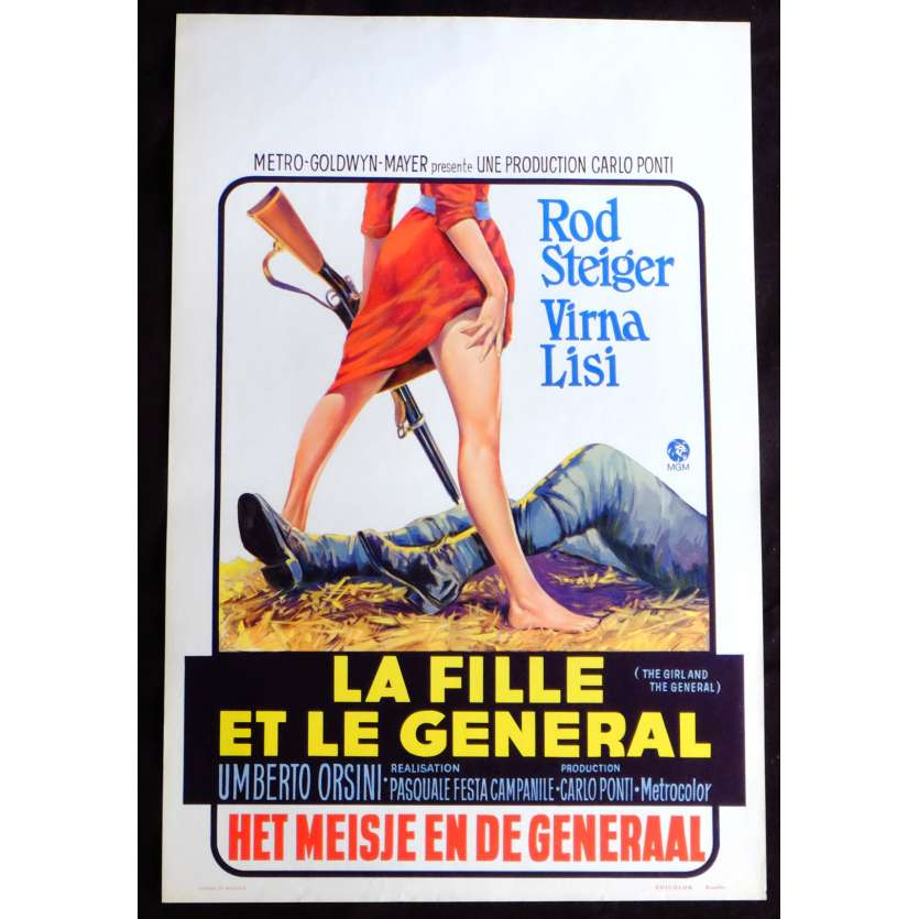 THE GIRL AND THE GENERAL Belgian Movie Poster 14x21 - 1967 - Pasquale Festa, Virna Lisi