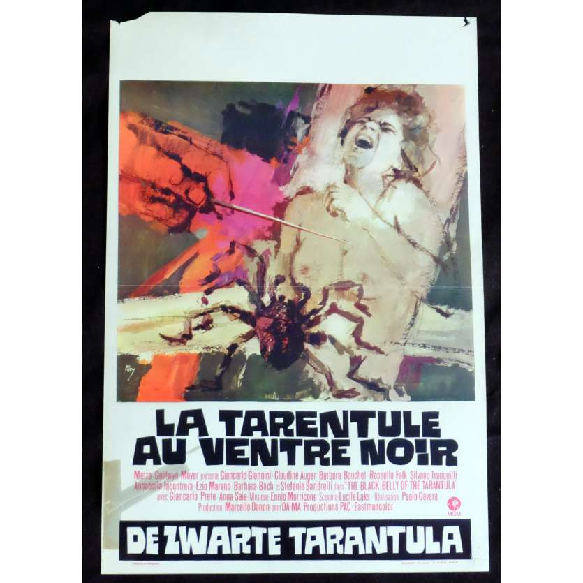 THE BLACK BELLY OF THE TARANTULA Belgian Movie Poster 14x22 - 1971 - Paolo Cavara, Giancarlo Giannini