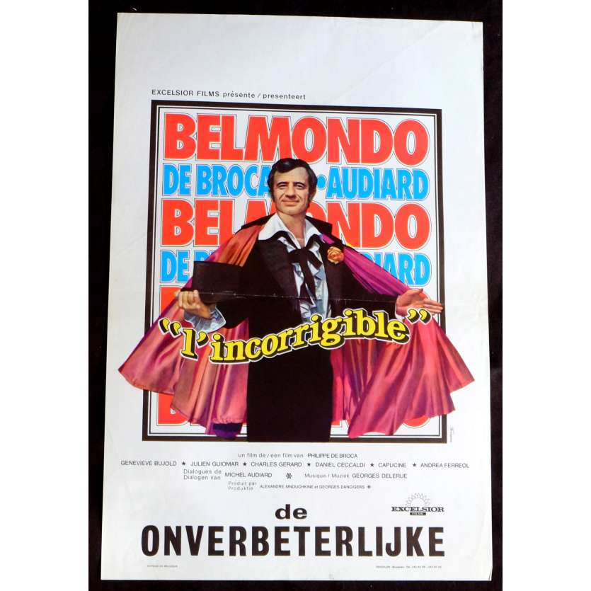 INCORRIGIBLE Belgian Movie Poster 14x21 - 1975 - Philippe de Broca, Jean-Paul Belmondo