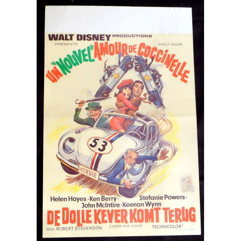 HERBIE RIDE AGAIN Belgian Movie Poster 14x21 - 1980 - Walt Disney, Helen Hayes