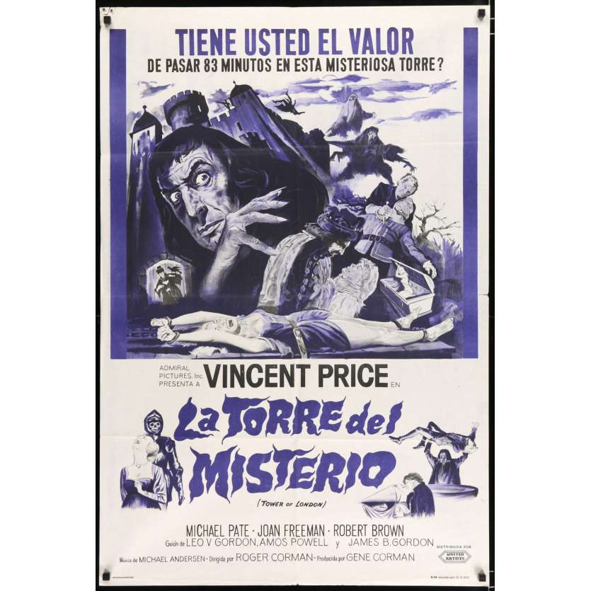 TOWER OF LONDON Argentinian Movie Poster 29x43 - 1962 - Roger Corman, Vincent Price