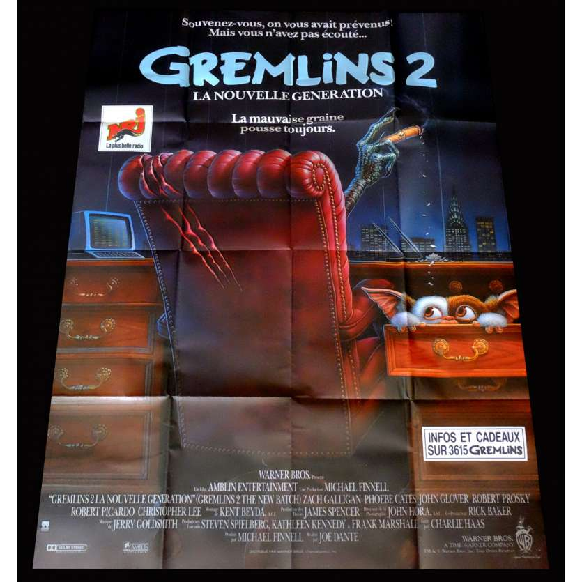 GREMLINS 2 THE NEW BATCH French Movie Poster 47x63 - 1990 - Joe Dante, Zach Galligan