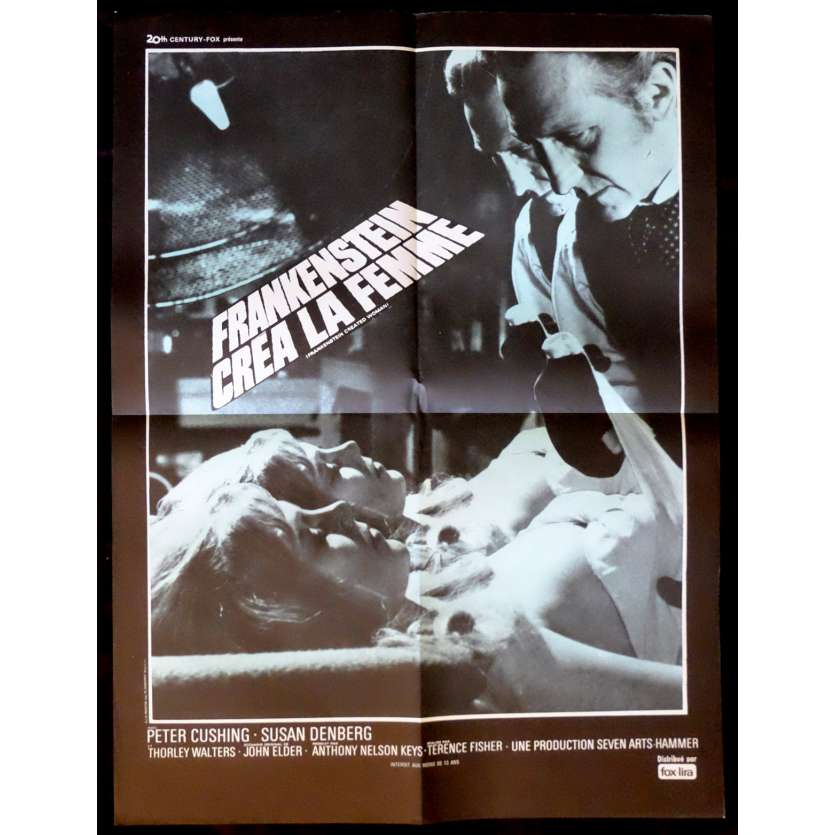 FRANKENSTEIN CREATES WOMAN French Movie Poster 23x32 - R1970 - Terence Fisher, Peter Cushing