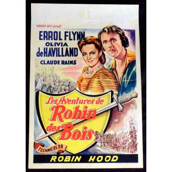 ROBIN HOOD Belgian Movie Poster 14x20 - R1950 - Michael Curtiz, Errol Flynn