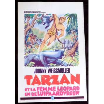 TARZAN AND THE LEOPARD WOMAN Belgian Movie Poster 14x20 - R1960 - Kurt Neumann, Johnny Weissmuller
