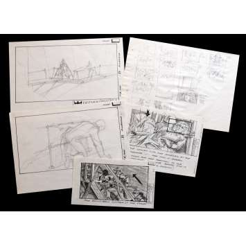 BATMAN Lot de Storyboards 20x30 - 1989 - Michael Keaton, Tim Burton