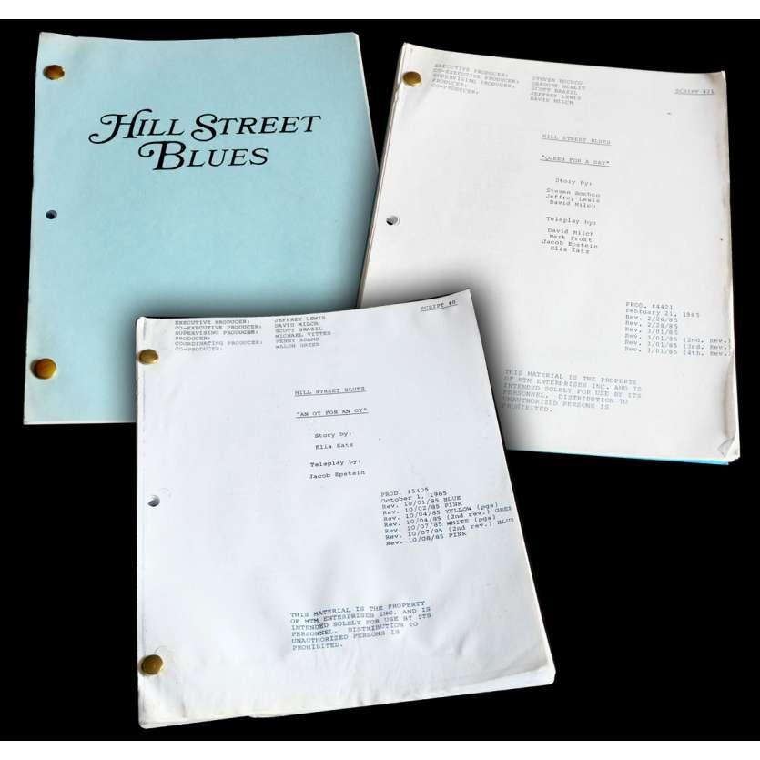 HILL STREET BLUES - CAPITAINE FURILLO Lot de 3 scénarios 21x30 - 1985 - Daniel J. Travanti, Steven Bochko