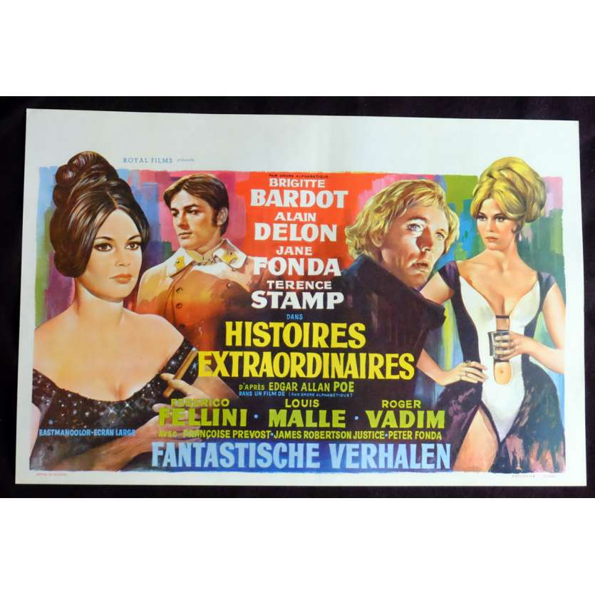SPIRITS OF THE DEAD Belgian Movie Poster 14x21 - 1968 - Federico Fellini, Brigitte Bardot