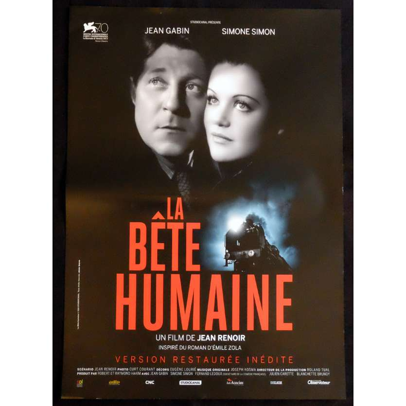 HUMAN BEAST French Movie Poster 15x21 - R2015 - Jean Renoir, Jean Gabin