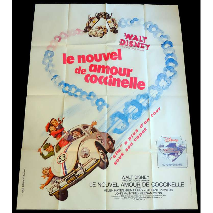 HERBIE RIDES AGAIN French Movie Poster 47x63 - 1974 - Robert Stevenson, Helen Hayes