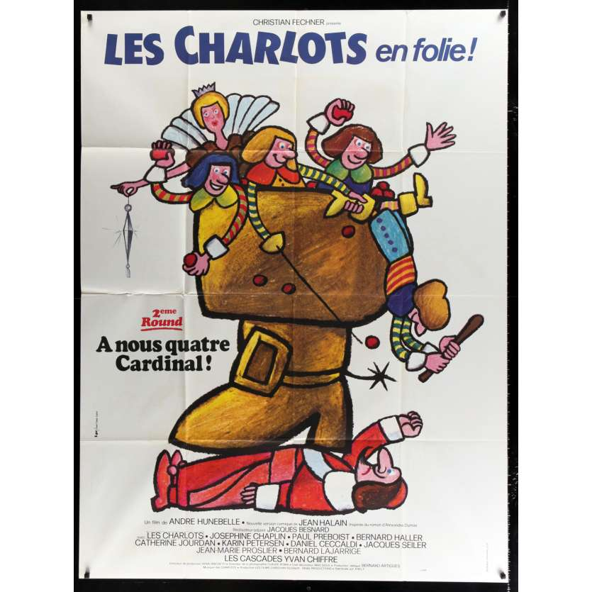 FOUR CHARLOTS MUSKETEERS French Movie Poster 47x63 - 1974 - André Hunebelle, Les Charlots
