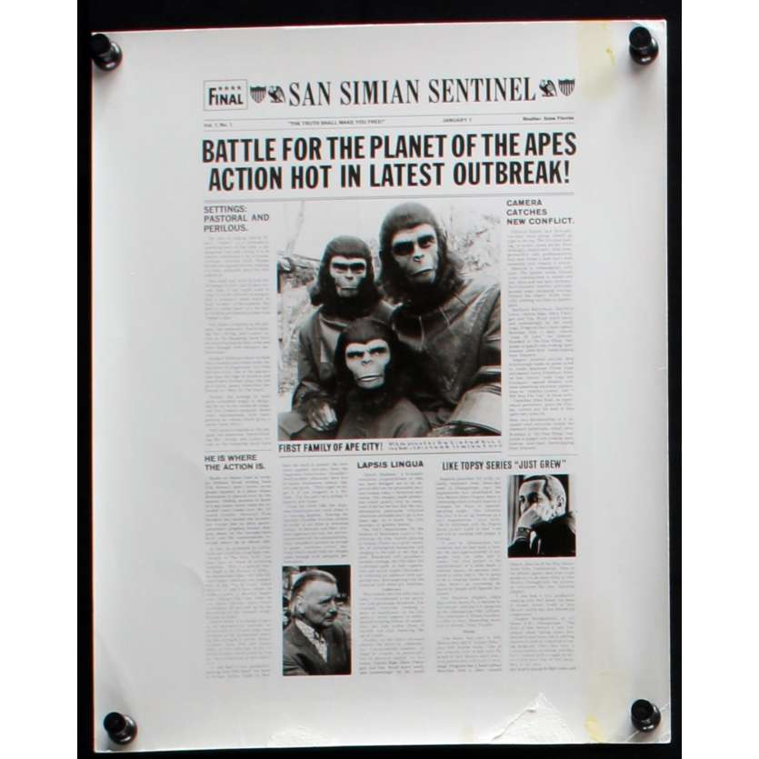 LA BATAILLE DE LA PLANETE DES SINGES Photo de presse N1 20x25 - 1973 - Roddy McDowall, J. Lee Thompson