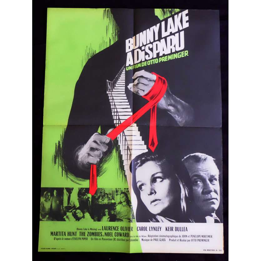 BUNNY LAKE A DISPARU Affiche de film 60x80 - 1965 - Laurence Olivier, Otto Preminger