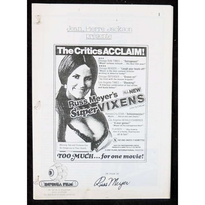 SUPERVIXENS French Movie Program 9x12 - 1975 - Russ Meyer, Charles Napier