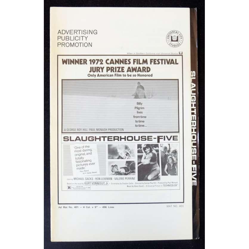 SLAUGHTERHOUSE FIVE US Pressbook 11x17 - 1972 - Geaorge Roy Hill, Michael Sacks