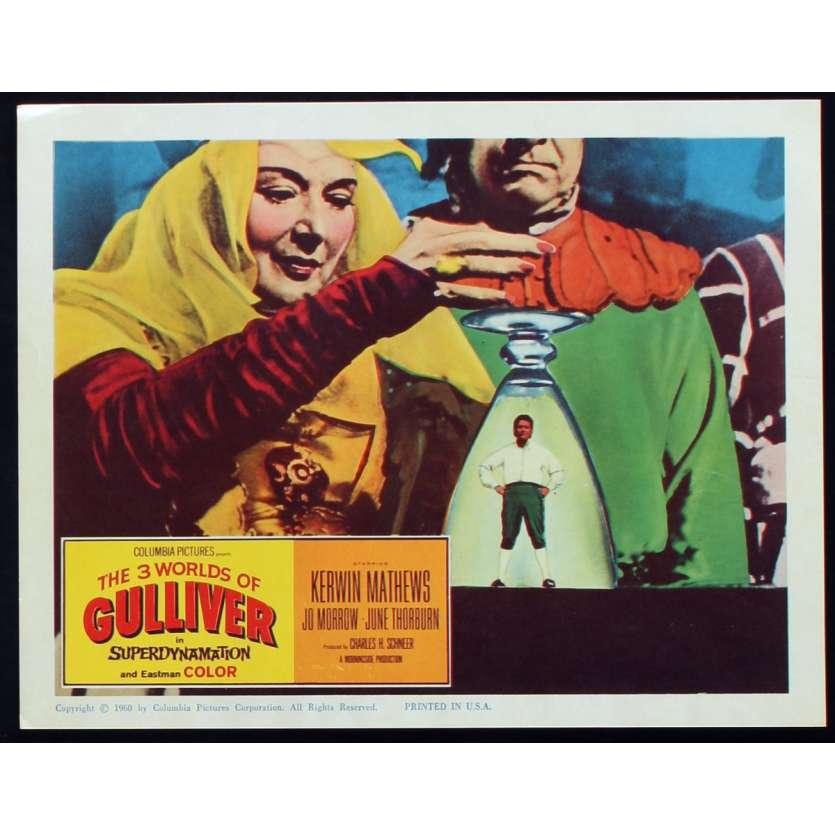 3 WORLDS OF GULLIVER US Lobby Card N2 11x14 - 1960 - Ray Harryhausen, Kerwin Mathews