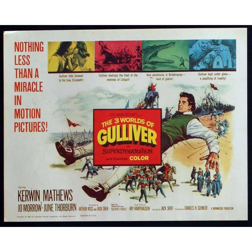 3 WORLDS OF GULLIVER US Lobby Card N5 11x14 - 1960 - Ray Harryhausen, Kerwin Mathews