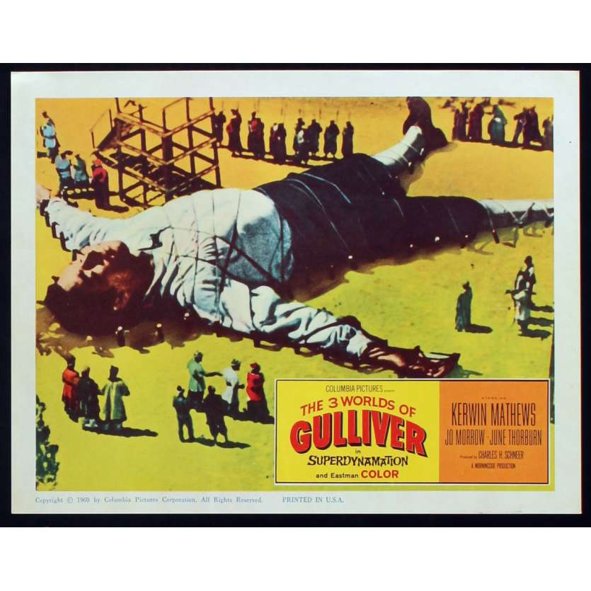 3 WORLDS OF GULLIVER US Lobby Card N6 11x14 - 1960 - Ray Harryhausen, Kerwin Mathews