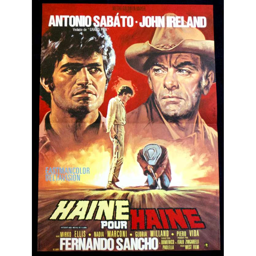 HATE FOR HATE French Movie Poster 15x21 - 1967 - Domenico Paolella, Antonio Sabato, John Ireland