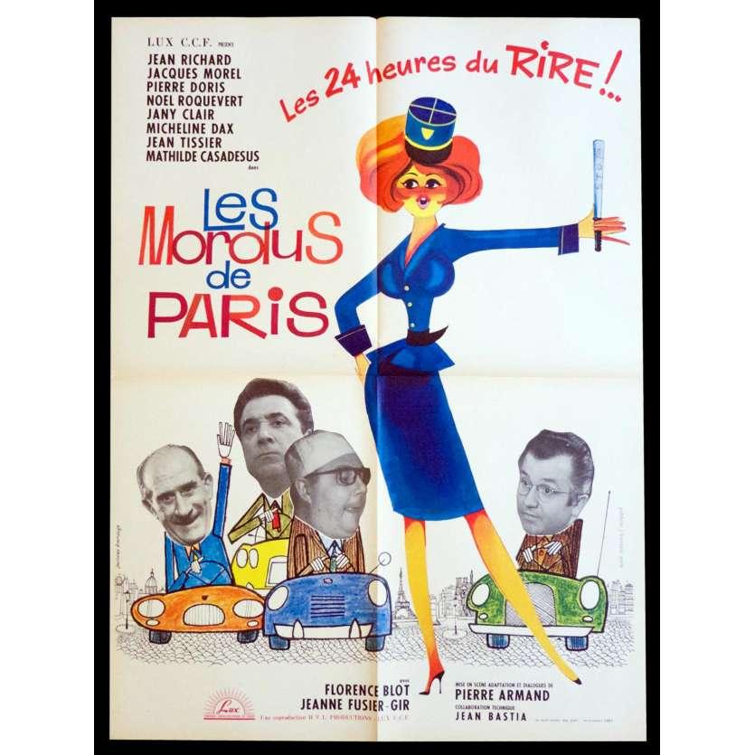 LES MORDUS DE PARIS Affiche de film 60x80 - 1965 - Jean Richard, Jacques Morel, tour eiffel