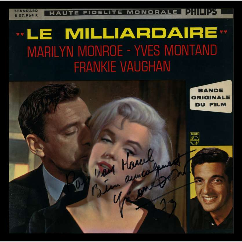 YVES MONTAND Disque Signé - BOF Le Milliardaire - 1960's - Marilyn Monroe