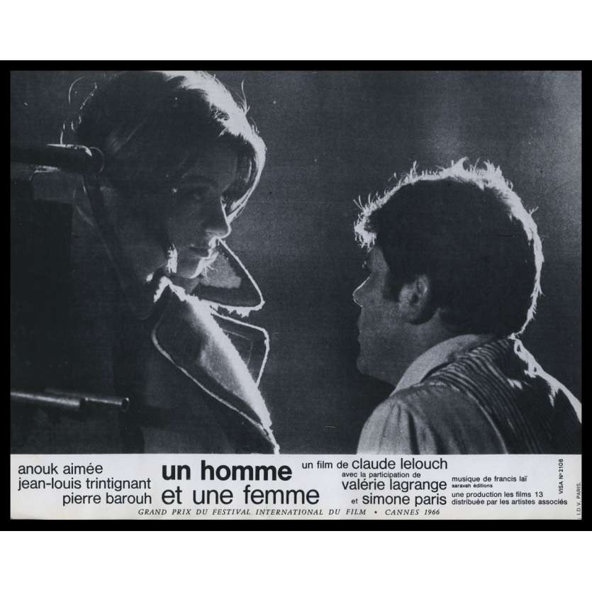 A MAN AND A WOMAN French Lobby Card N4 9x12 - 1966 - Claude Lelouch, Anouk Aymée