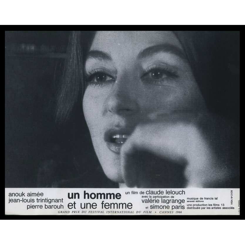 A MAN AND A WOMAN French Lobby Card N3 9x12 - 1966 - Claude Lelouch, Anouk Aymée