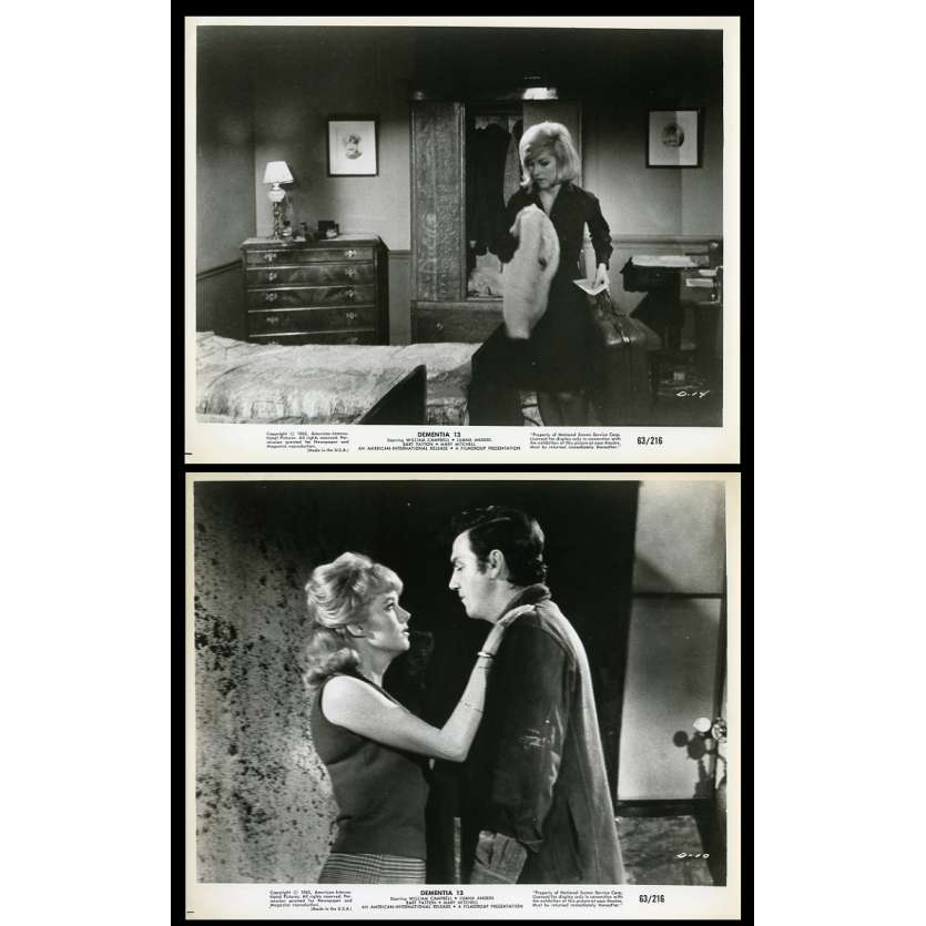 DEMENTIA 13 US Movie Stills x2 8X10 - 1963 - Francis Ford Coppola, William Campbell