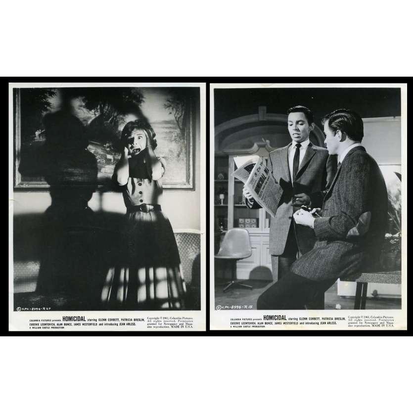 HOMICIDE Photos de presse x2 20x25 - 1961 - Glen Corbett, William Castle