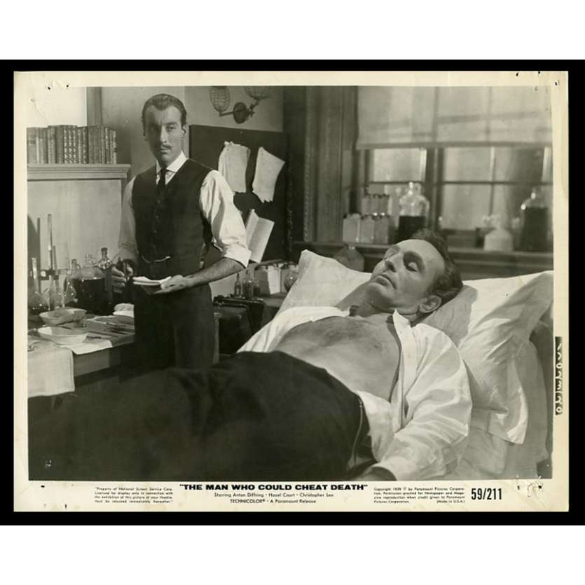 THE MAN WHO COULD CHEAT DEATH US Movie Still 8X10 - 1959 - Hammer films, Christopher Lee