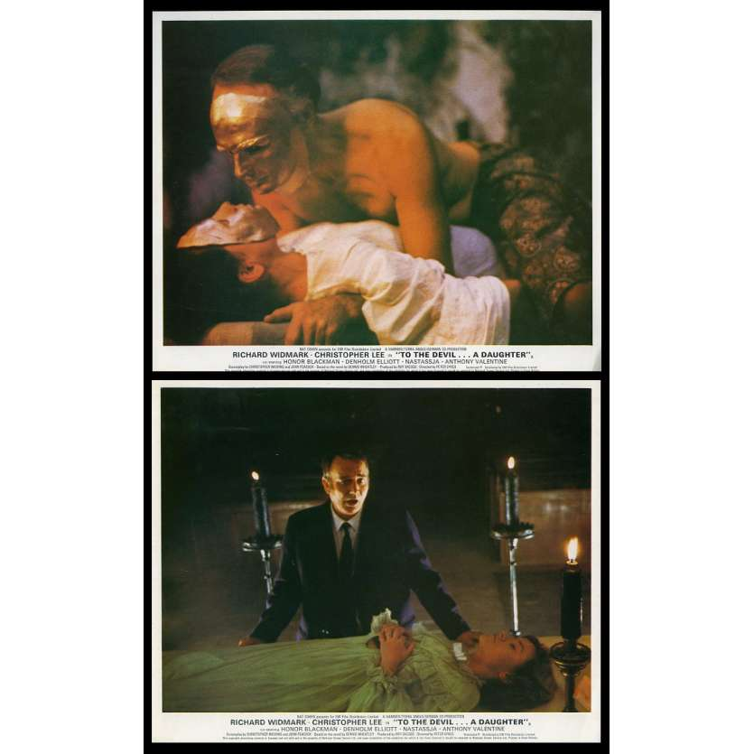 TO THE DEVIL… A DAUGHTER US Lobby Cards x2 8X10 - 1976 - Hammer Films, Christopher Lee, Honor Blackman