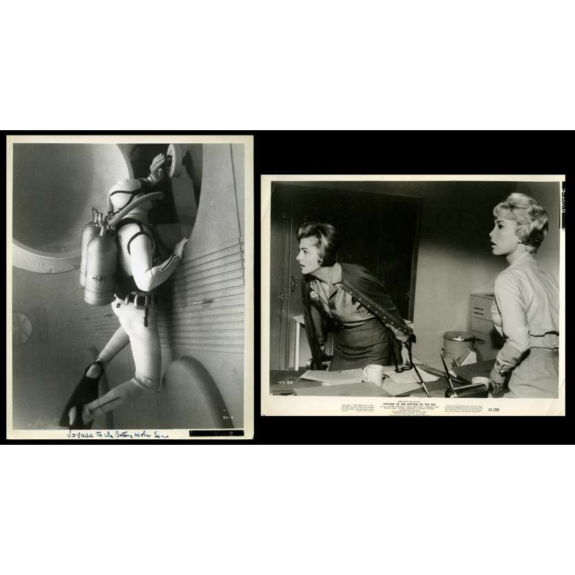 VOYAGE TO THE BOTTOM OF THE SEA US Movie Stills x2 8X10 - 1961 - Irwin Allen, Joan Fontaine