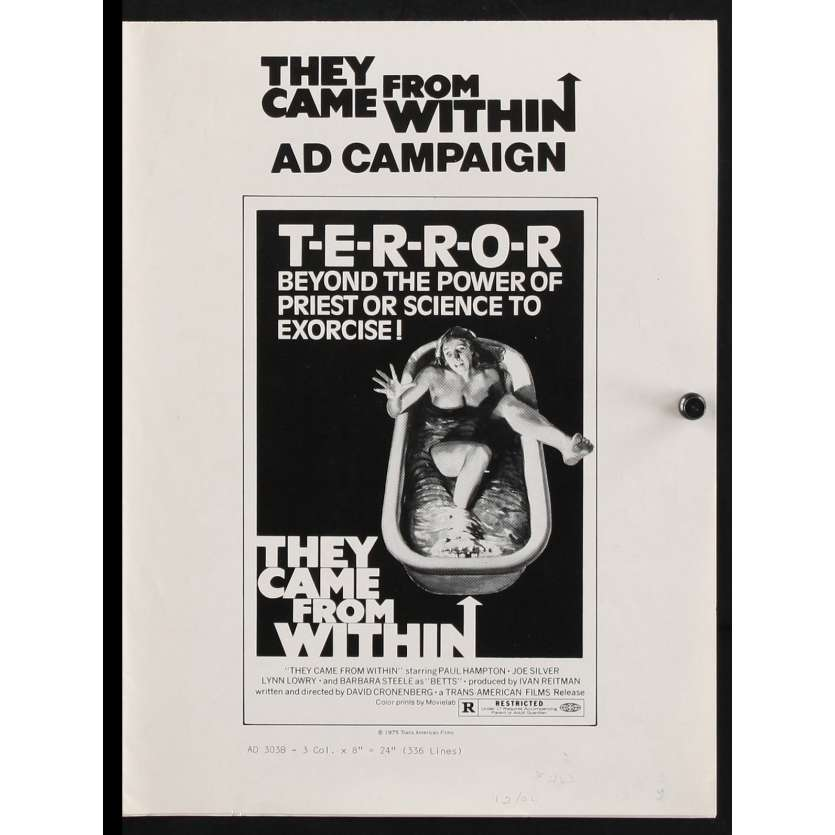 THEY CAME FROM WITHIN US Pressbook 12x15 - 1975 - David Cronenberg, Paul Hampton