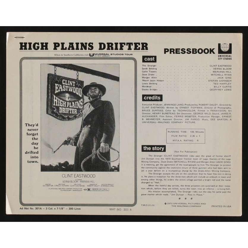 HIGH PLAINS DRIFTER US Pressbook 13p 8x11 - 1973 - Clint Eastwood, Clint Eastwood