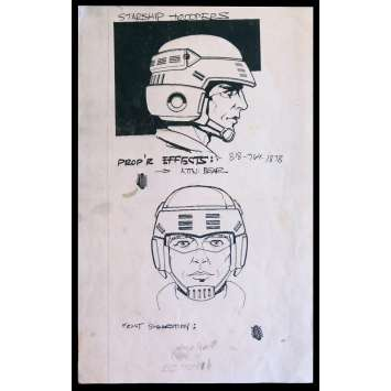 STARSHIP TROOPERS US Production-Used Storyboard Helmet BW 9,25x11 - 1995 - Paul Verhoeven, Denise Richards