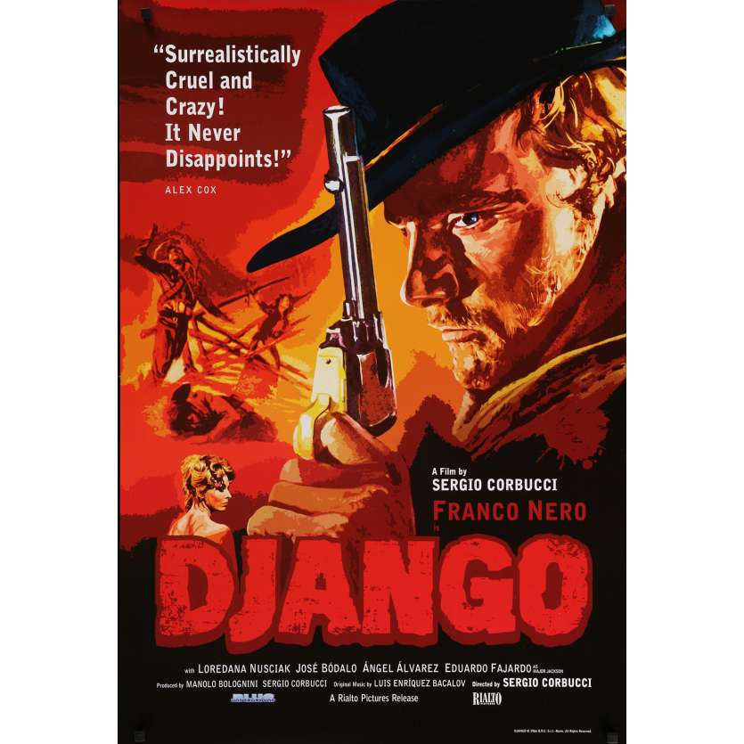 DJANGO Movie Poster 29x41 in. USA - 1966 - Sergio Corbucci, Franco Nero