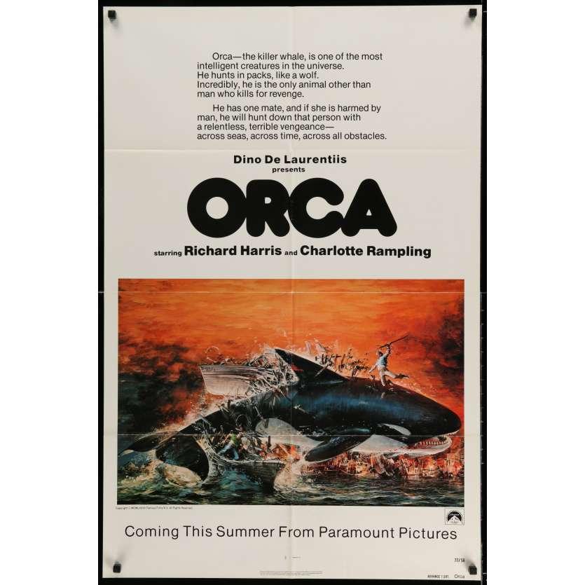 ORCA Affiche de film 69x104 cm - 1977 - Richard Harris, Michael Anderson